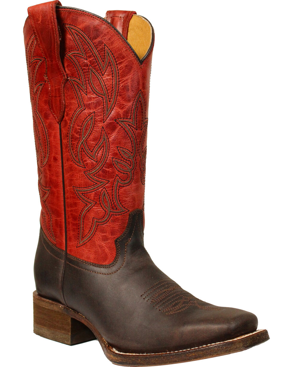 Corral Boys' Brown & Red Cowboy Boots - Square Toe, Brown, hi-res