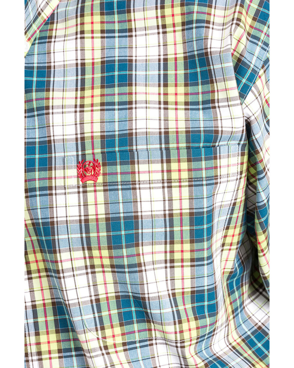 Cinch Men's Plaid Long Sleeve Button Down Shirt - Big, Multi, hi-res