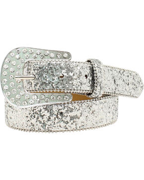 Ariat Girls Cluster Crystal Rhinestone Belt, Silver, hi-res