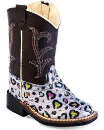 Old West Toddler Girls' Colorful Hearts Western Boots - Square Toe , , hi-res
