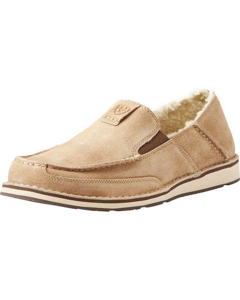 Ariat Men's Fleece Cruiser Shoes - Moc Toe, Taupe, hi-res