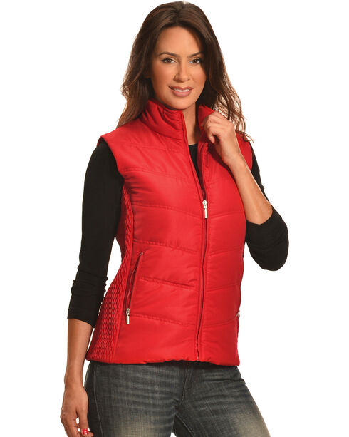 Jane Ashley Women's Red Quilted Princess Vest , Red, hi-res