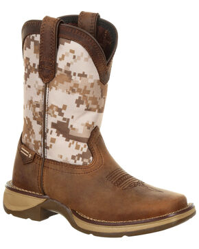Durango Boys' Rebel Desert Camo Western Boots - Square Toe, Brown, hi-res