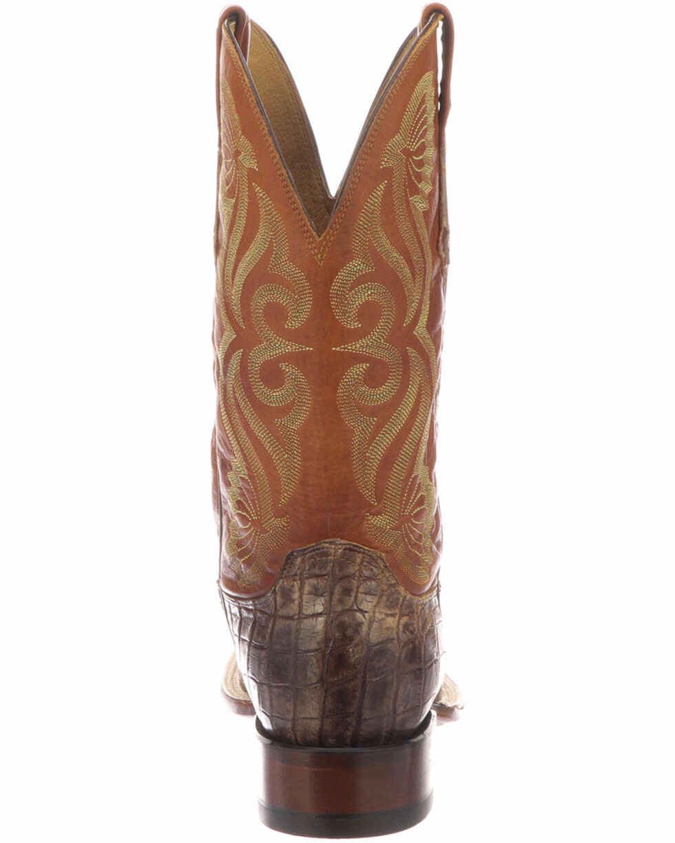 Lucchese Men's Roy Chocolate/Cognac Giant Gator Horseman Boots - Square Toe , Chocolate, hi-res