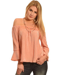Derek Heart Women's Coral Smocked Off Shoulder 3/4 Cuff Sleeve Shirt , , hi-res