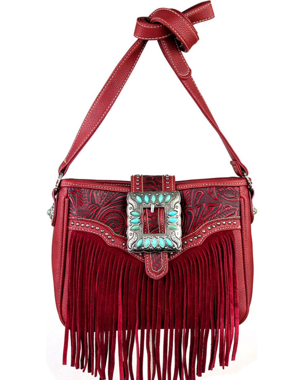 Montana West Trinity Ranch Belt Buckle Messenger Bag with Fringe, , hi-res