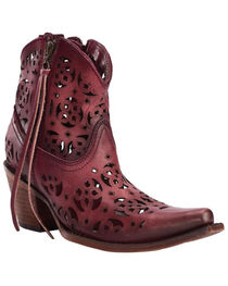 Corral Women's Floral Cutout  Western Booties, , hi-res