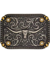 Montana Silversmiths Two-Tone Longhorn Traditional Attitude Belt Buckle, , hi-res