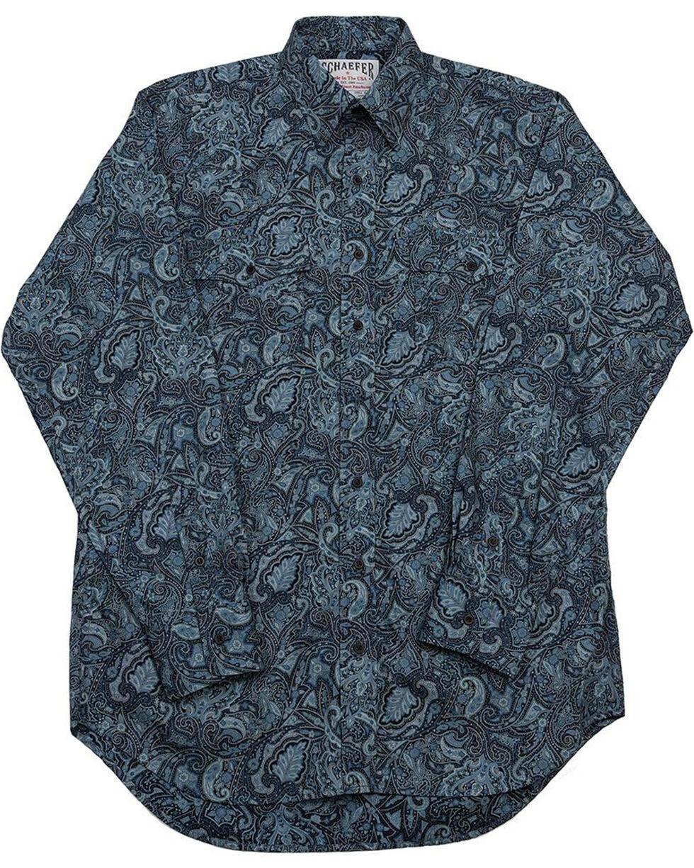 Schaefer Outfitter Men's Black Frontier Paisley Western Button Shirt , Blue, hi-res