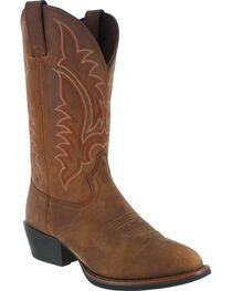 Tony Lama Men's Round Toe Western Boots, Distressed Brown, hi-res