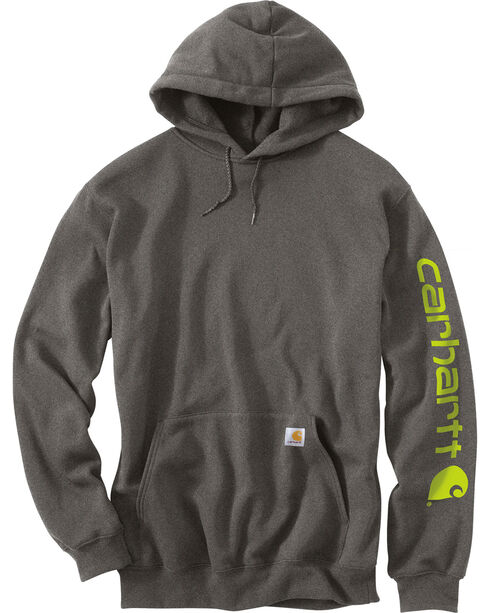 Carhartt Men's Hooded Logo-Sleeve Sweatshirt, Medium Grey, hi-res