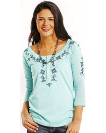 Panhandle Slim Women's Ocean Blue Embroidered Henley Top, , hi-res