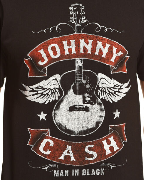 Merch Traffic Men's Black Johnny Cash Winged Guitar Tee - Big, Black, hi-res