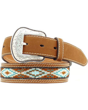 Kids' Southwestern Beaded Belt, Brown, hi-res