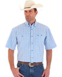 Wrangler George Strait Men's Short Sleeve  Blue Plaid Two Pocket Button Shirt, , hi-res