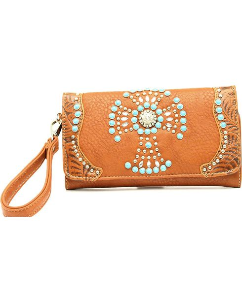 Blazin' Roxx Women's Turquoise Studded Cross Wallet, , hi-res