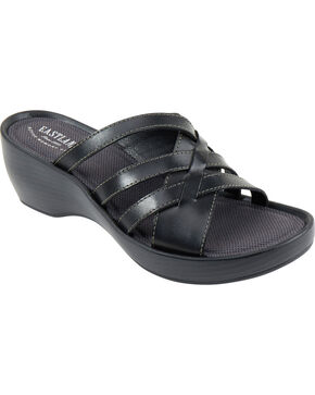 Eastland Women's Black Poppy Wedge Sandals, Black, hi-res