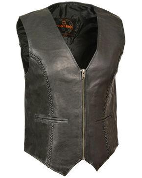 Milwaukee Leather Women's Zipper Front Braided Vest, Black, hi-res