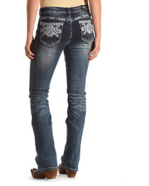 Grace in LA Women's Blue Aztec Pocket Easy Fit Jeans - Boot Cut , , hi-res
