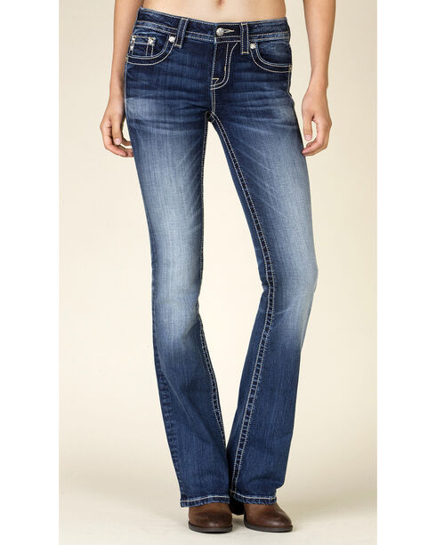 Miss Me Women's Embroidered Boot Cut Jeans, Blue, hi-res