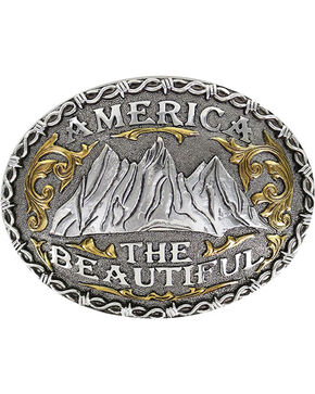 "Cody James® Men's ""America The Beautiful"" Belt Buckle, Silver, hi-res"