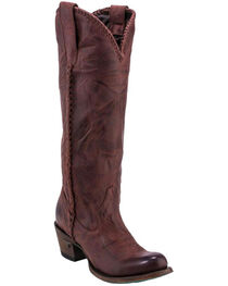 Lane Plain Jane Wine Cowgirl Boots - Round Toe , , hi-res