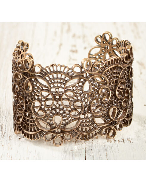 Shyanne Women's Scroll Cutout Cuff Bracelet, Gold, hi-res