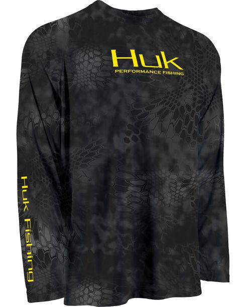 Huk Performance Fishing Kryptek Raglan Long Sleeve Shirt , Yellow, hi-res