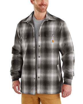 Carhartt Men's Hubbard Sherpa-Lined Shirt Jac - Big , Charcoal, hi-res
