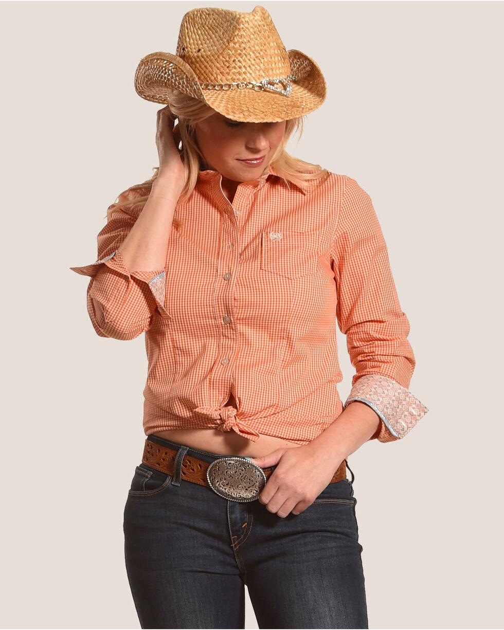 Cinch Women's Orange Mini Checkered Western Shirt , Orange, hi-res