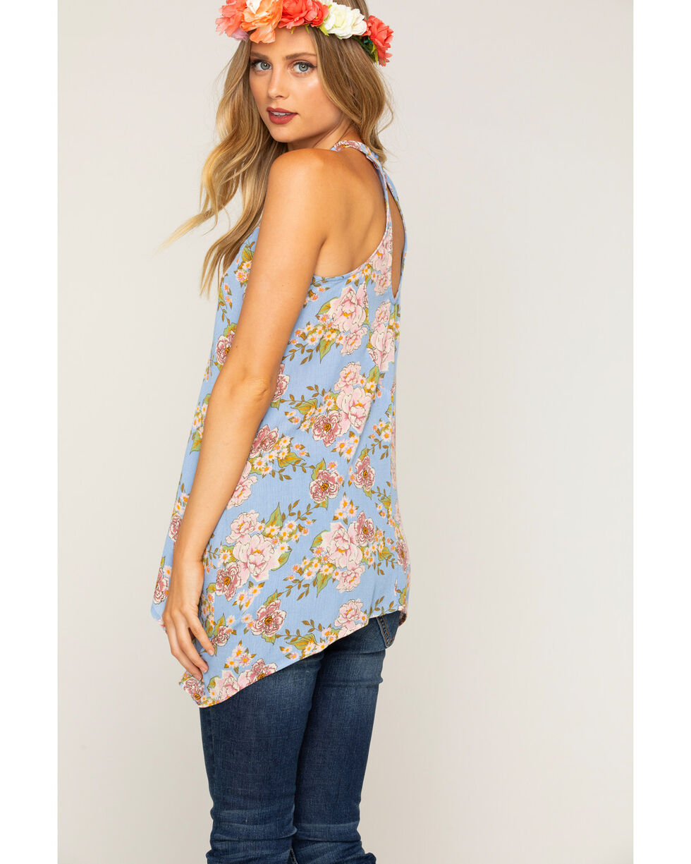 Shyanne Women's Floral Lace Tank Top , Blue, hi-res