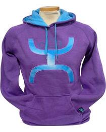 Hooey Women's Purple Snugly Blue Logo Hoodie , , hi-res