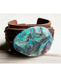 Jewelry Junkie Ocean Agate On Leather Cuff , , hi-res