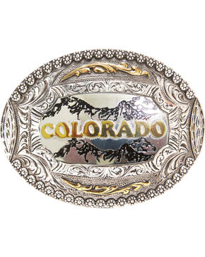 AndWest Colorado Regional Motif Belt Buckle, Two Tone, hi-res