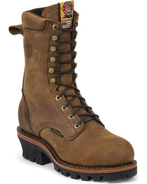 "Justin J-Max Waterproof 10"" Lace-Up Work Boots - Steel Toe, Aged Bark, hi-res"