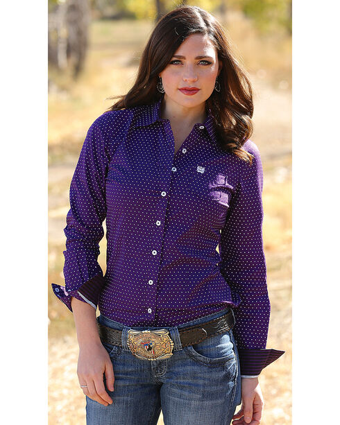 Cinch Women's Purple Dot Print Long Sleeve Shirt , Purple, hi-res