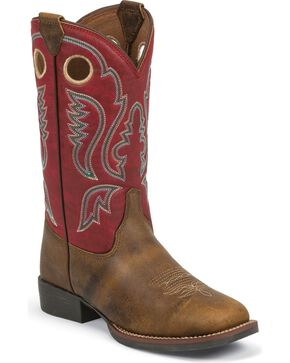 Justin Kid's Arizona Buffalo Buckaroo Boots, Brown, hi-res