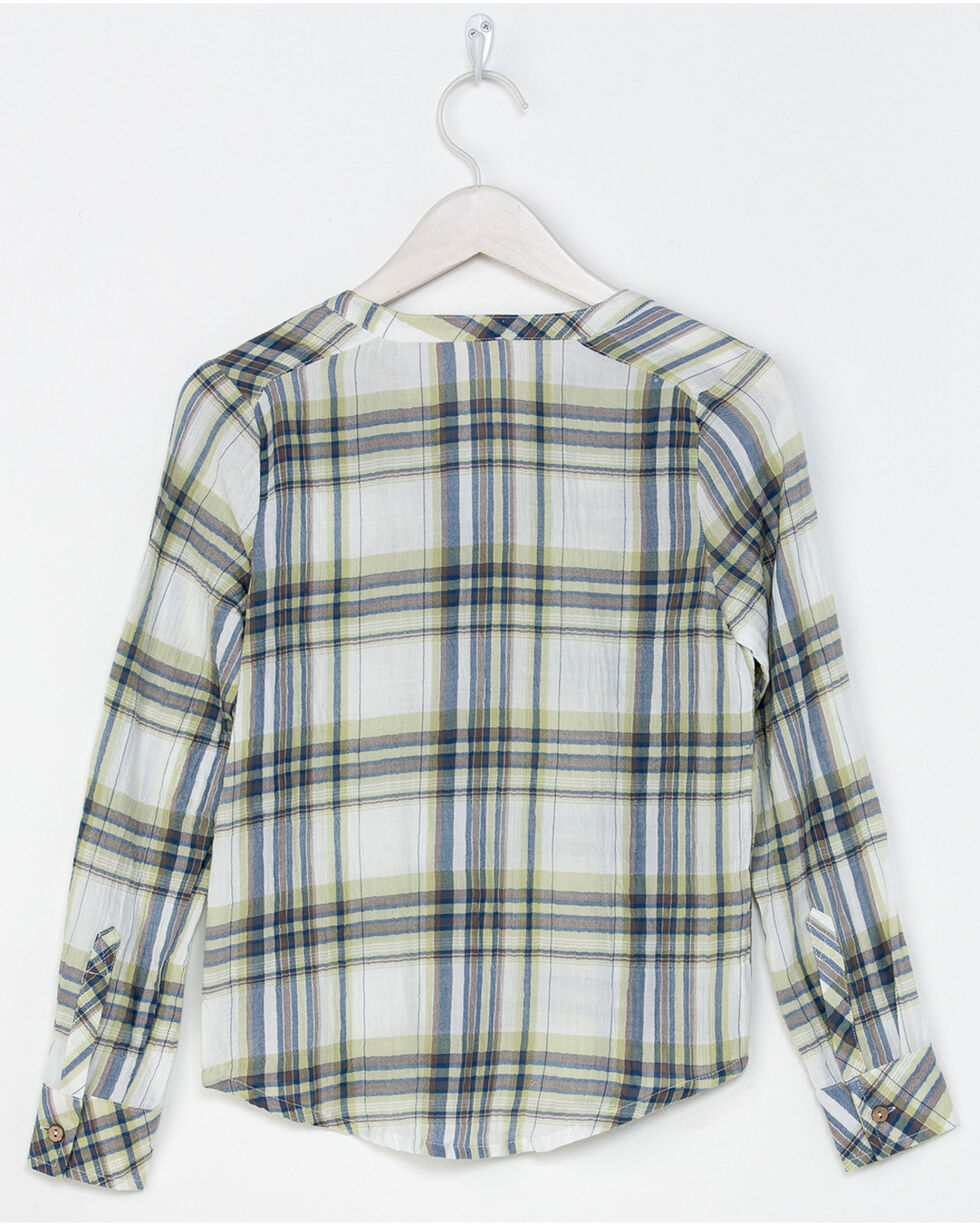 Miss Me Girls' Easy Street Plaid Shirt , Green, hi-res