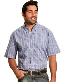 Cowboy Legend Men's Blue Plaid Short Sleeve Shirt , , hi-res