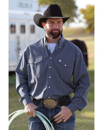 Cinch Men's Long Sleeve Navy Printed Double Pocket Button Down Shirt, , hi-res