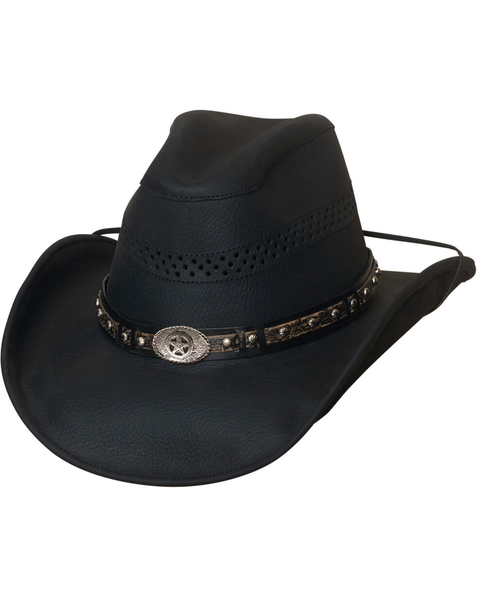 Bullhide Get On Top Grain Leather Hat , Black, hi-res