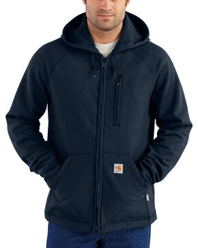 Charhartt Men's Flame-Resistant Force Rugged Flex Fleece Jacket, Navy, hi-res