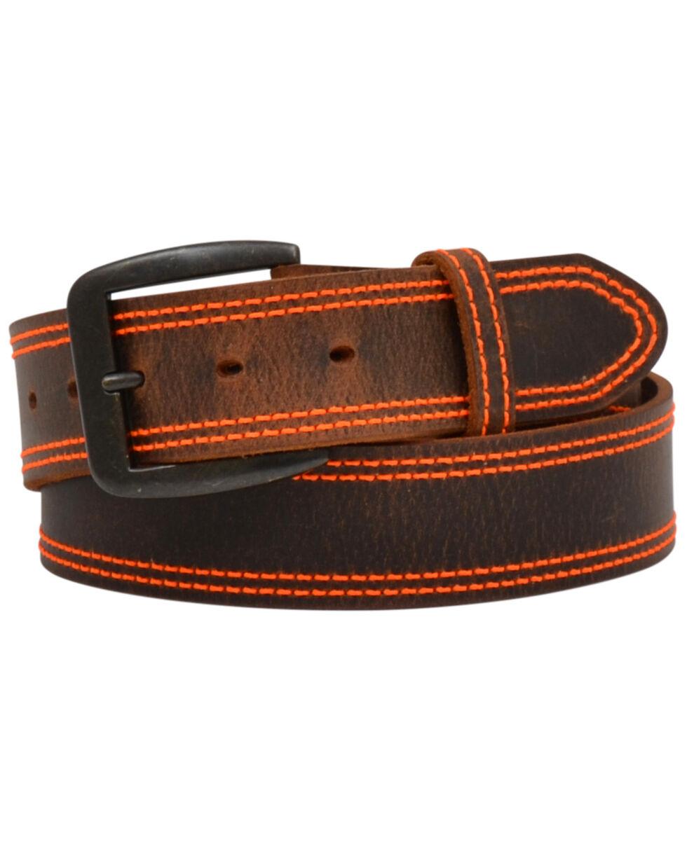 3D Men's Orange Stitch Distressed Brown Leather Belt, Brown, hi-res