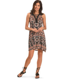 Jody of California Women's Lace Up Front Dress , Black, hi-res