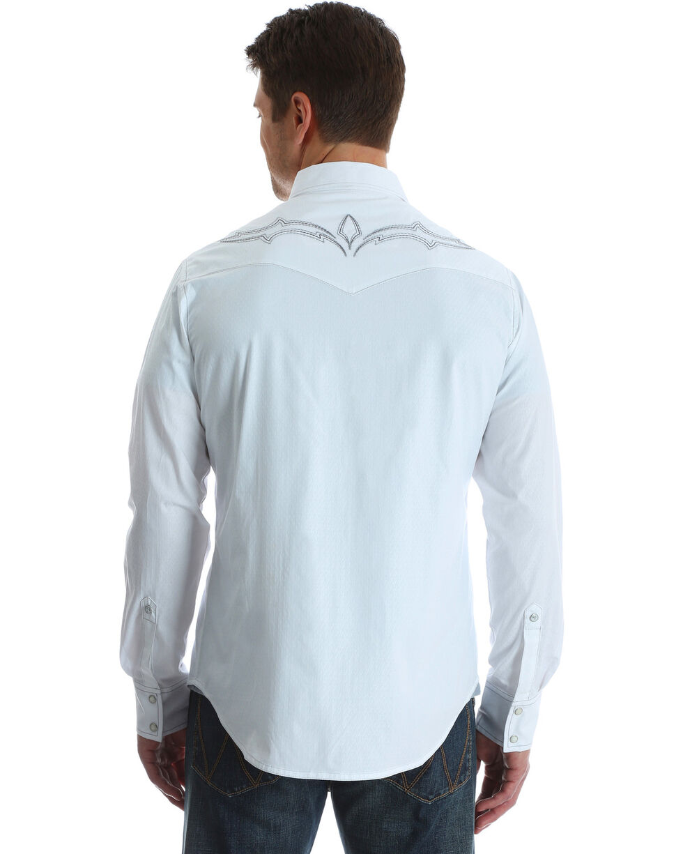 Wrangler Rock 47 Men's White Fancy Yoke Shirt - Tall, White, hi-res