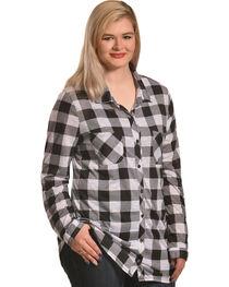 Derek Heart Women's Two Pocket Plaid Button Down Shirt - Plus, , hi-res