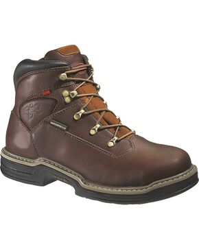 Wolverine Men's Buccaneer Steel Toe Waterproof Work Boots, Dark Brown, hi-res