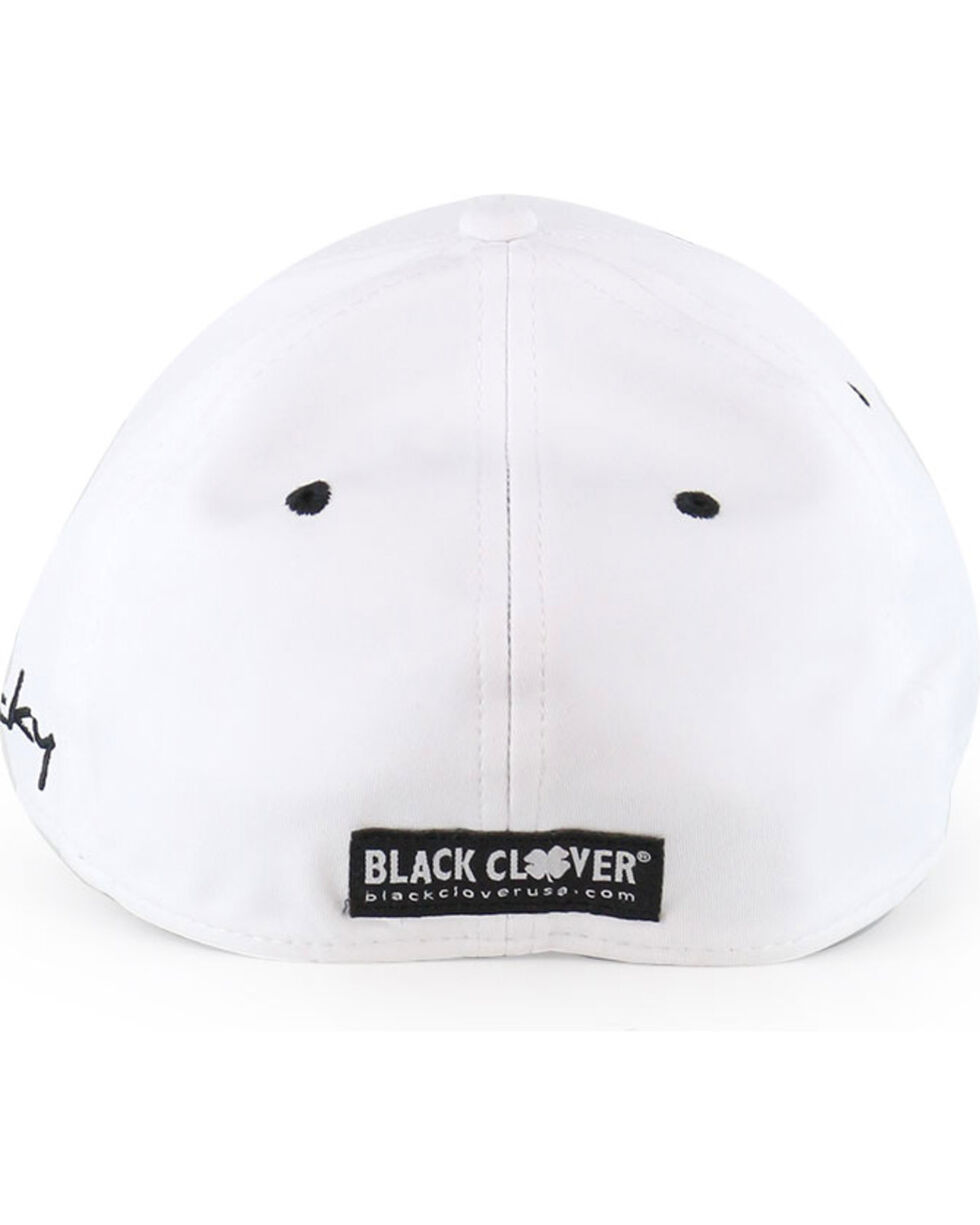 Black Clover Men's Premium Fitted Embroidered Logo Ball Cap, White, hi-res