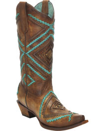 Corral Honey Embroidered Woven Cowgirl Boots - Snip Toe, , hi-res