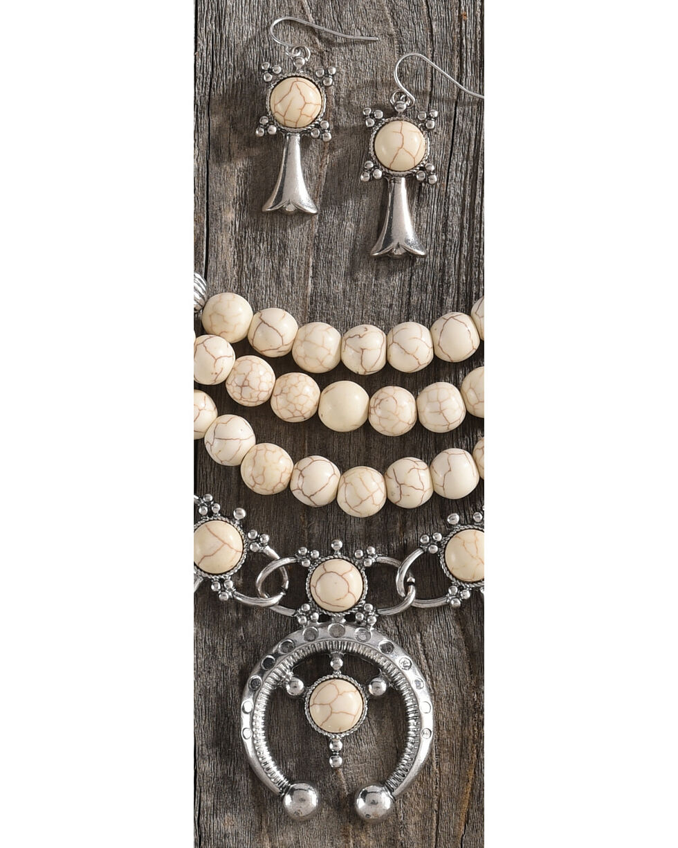 Shyanne Women's Beaded Squash Blossom Necklace Set, Ivory, hi-res